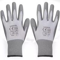 vidaXL Gants de travail PU 24 paires Blanc et gris Taille 9/L