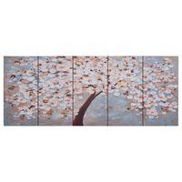 vidaXL Ensemble de tableau sur toile Arbre fleuri Multicolore 150x60cm