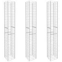 vidaXL Paniers de gabion 3 pcs Acier galvanisé 25 x 25 x 197 cm