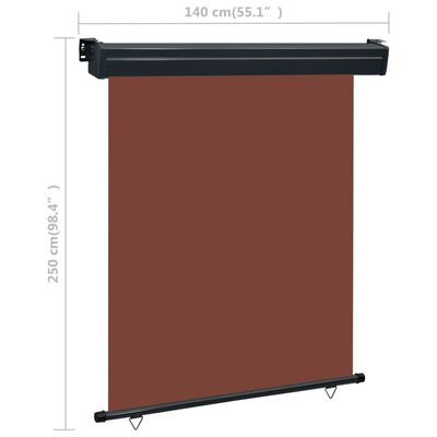 vidaXL Auvent latéral de balcon 140x250 cm Marron