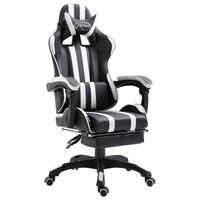 vidaXL Chaise de jeu avec repose-pied Blanc Similicuir