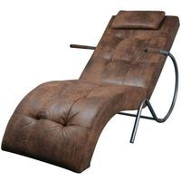 vidaXL Chaise longue avec oreiller Marron Tissu daim