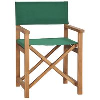 vidaXL Chaise de metteur en scène Bois de teck solide Vert