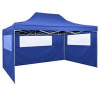 vidaXL Tente pliable avec 3 parois 3 x 4,5 m Bleu