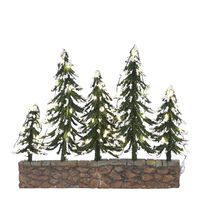 Luville - Snowy trees on stone wall with warm white light battery