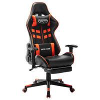 vidaXL Chaise de jeu avec repose-pied Noir et orange Cuir artificiel
