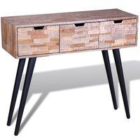 vidaXL Table console avec 3 tiroirs Bois de teck recyclé