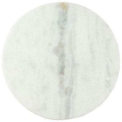 vidaXL Table basse Blanc et noir Ø50 cm Marbre solide véritable