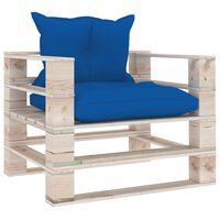vidaXL Canapé palette de jardin avec coussins bleu royal Bois de pin