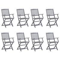 vidaXL Chaises pliables d'extérieur 8 pcs avec coussins Bois d'acacia