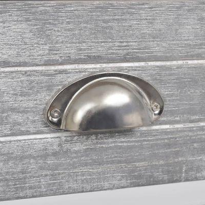 vidaXL Table de chevet Gris et blanc 38x28x45 cm Bois de Paulownia