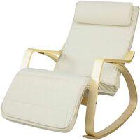 SoBuy FST16-W Rocking Chair Fauteuil à bascule avec repose-pieds-Beige