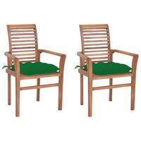 vidaXL Chaises à dîner 2 pcs avec coussins vert Bois de teck solide