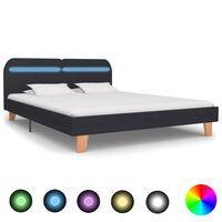 vidaXL Cadre de lit avec LED Gris foncé Tissu 180 x 200 cm