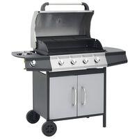 vidaXL Barbecue à gaz 4+1 zones cuisson Noir et argenté Acier et inox