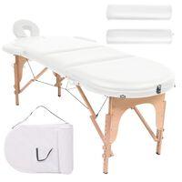 vidaXL Table de massage pliable 4 cm d'épaisseur et 2 traversins Blanc