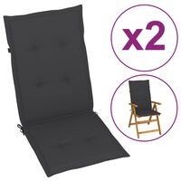 vidaXL Coussins de chaise de jardin 2 pcs Anthracite 120x50x4 cm