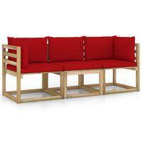 vidaXL Canapé de jardin 3 places avec coussins rouge