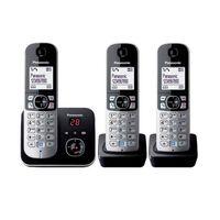 Téléphone Sans Fil Trio Dect Avec Répondeur Noir/argent - Kxtg6823frb