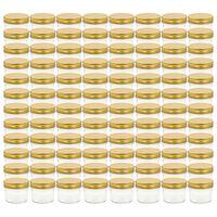 vidaXL Pots à confiture avec couvercle doré 96 pcs Verre 110 ml