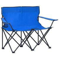 vidaXL Chaise de camping pliable à 2 places Acier et tissu Bleu