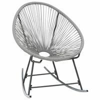 vidaXL Chaise à bascule d'extérieur forme de lune Gris Résine tressée