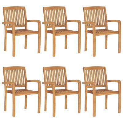 vidaXL Chaises de jardin empilables avec coussins 6 pcs Teck solide