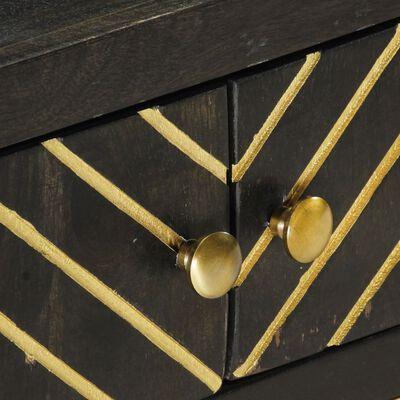 vidaXL Table basse Noir et doré 90x50x35 cm Bois solide de manguier