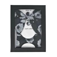Ensemble 3 pièces avec nœud papillon, mouchoir et boutons de manchette