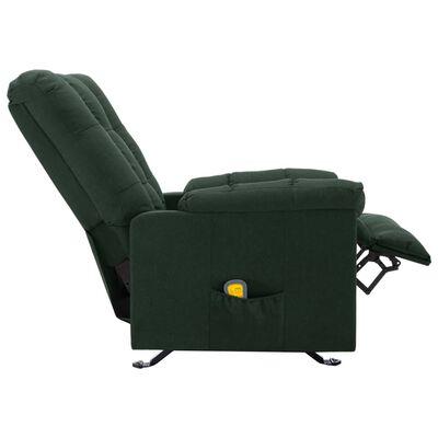 vidaXL Fauteuil de massage inclinable Vert foncé Tissu