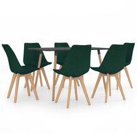 vidaXL Ensemble de salle à manger 7 pcs Vert foncé