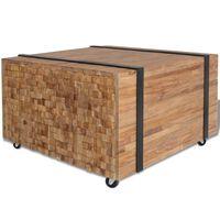 vidaXL Table d'appoint en teck 60 x 60 x 38 cm