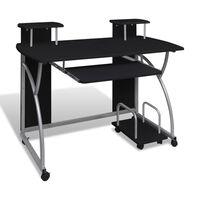 vidaXL Bureau d'ordinateur avec plateau à clavier coulissant Noir