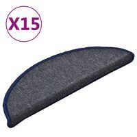vidaXL Tapis de marches d'escalier 15 pcs Gris foncé et bleu 56x17x3cm