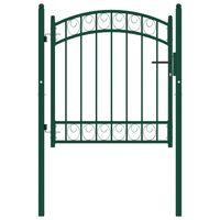 vidaXL Portail de clôture avec dessus arqué Acier 100x100 cm Vert