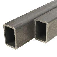 vidaXL Tube rectangulaire 2 pcs Acier de construction 2 m 60x30x2 mm