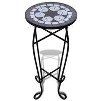 vidaXL Table d'appoint Mosaïque Noir et blanc