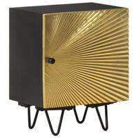 vidaXL Table de chevet avec front en laiton 40x30x50cm Manguier massif