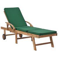 vidaXL Chaise longue avec coussin Bois de teck solide Vert