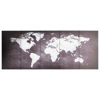 vidaXL Ensemble de tableau sur toile Carte du monde Gris 150x60 cm