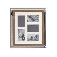 Cadre pêle-mêle 5 photos effet miroir et bois foncé SINTA