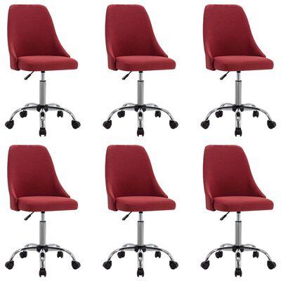 vidaXL Chaises de salle à manger 6 pcs Rouge bordeaux Tissu