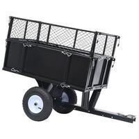 vidaXL Remorque basculante pour tracteur de pelouse Charge de 150 kg