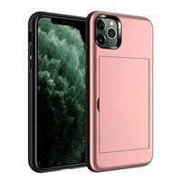 Coque iPhone 11 Pro Max avec fente pour carte rose TPU / PC