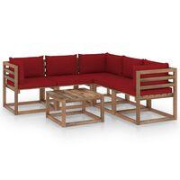 vidaXL Salon de jardin 6 pcs avec coussins rouge bordeaux Pin imprégné