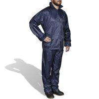 vidaXL Combinaison de pluie avec capuche 2 pcs Hommes Bleu marine M