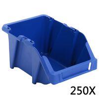 vidaXL Bac de rangement empilable 250 pcs 103x165x76 mm Bleu