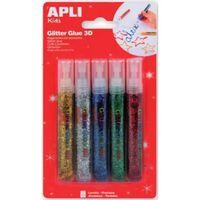 Colle Paillettes 5 tubes Glitter Glue 3D