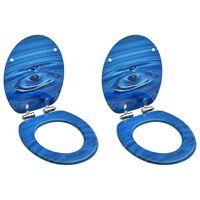 vidaXL Sièges WC couvercle à fermeture douceur 2 pcs MDF Gouttes d'eau
