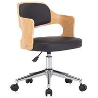 vidaXL Chaise pivotante de bureau Noir Bois courbé et similicuir